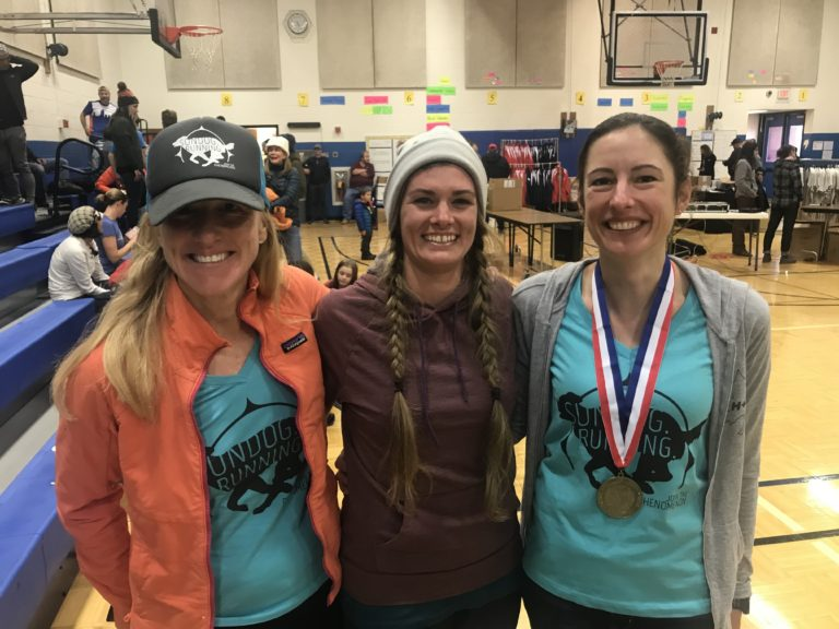 It's always fun to connect with our athletes at events. Left, Claire Gadrow (women's masters champion) and right, Vicki Zandbergen.